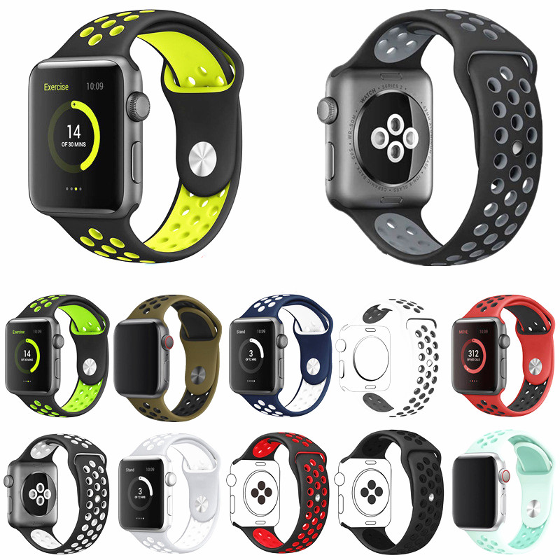 New Breathable Silicone Sports Band For Apple Watch 4 3 2 1 38mm Rubber Strap Bands For Nike+ Iwatch 4 3 40mm