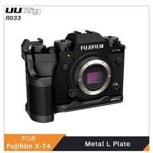 Uurig R033 Metalen L Plaat Voor Fujifilm X T4 Koude Schoen Voor Video Light Microfoon Arca Quick Release Lederen Handvat Dslr camera