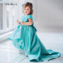 цена на Cute Girls Birthday Party Gowns High Low Satin Flower Girl Dress with Lace Appliques Bow Back High Quality Girls Pageant Gowns