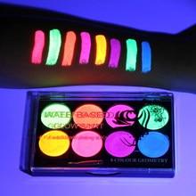 8 cores rosto corpo arte pintura uv, brilho fluorescente, brilho, festa de halloween, fantasia, beleza, maquiagem, ferramenta