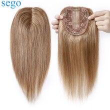 SEGO – Extensions de cheveux naturels non-remy 10x12cm, 6 couleurs, Base en soie, postiche avec Clip, pour femmes