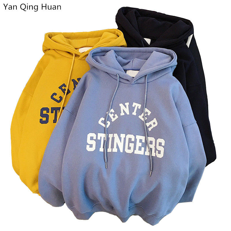 New Hoodies Women Winter Warm Thickening Fashion Letter Print Long Sleeve Hooded Pullover Korean Loose Women's Tops Sweatshirt