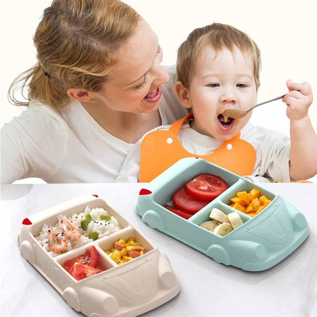 4 색 크리 에이 티브 대나무 섬유 저녁 식사 접시 나누어 식사 접시 만화 귀여운 스낵 트레이 아침 식사 요리 주방 식기 15x24cm