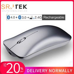 5.0 + 3.0 mysz Bluetooth Mini komputer optyczny 2.4G mysz bezprzewodowa odbiornik USB wyciszenie ergonomiczny akumulator do laptopa MacBook