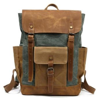 Oil Wax Canvas Leather Backpacks Unisex Waterproof Rucksacks 15 Inch Laptops Daypacks Large Capacity Vintage Mochilas Travel B