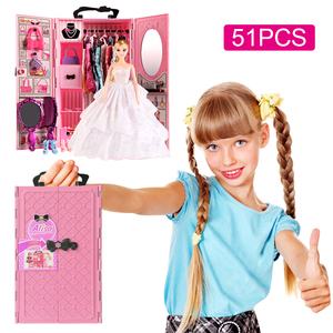 Image 1 - DIY miniature dollhouse doll house doll closet with doll house furniture toys for children Christmas gift