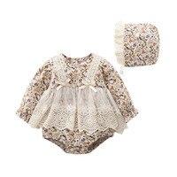 Baby Bodysuits+Hat 2Pcs/set Girls Clothes Set Floral Cotton Lace Newborn Girls Jumpsuits For 0-18M