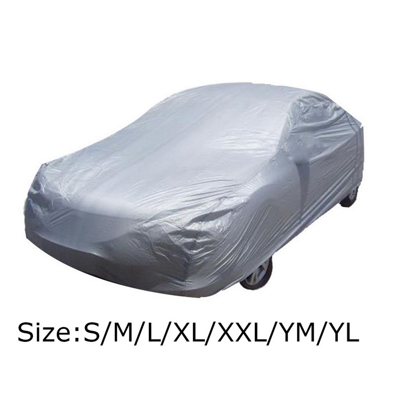 Universal Full Car Cover Snow Ice Dust Sun UV Shade Cover Silver  Size S M L XL XXL Foldable Light Resistant Protection