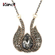 Kinel 2020 New Arrival Women Grey Crystal Necklace Antique Gold Big Water Drop Pendant Necklace For Gift Vintage Wedding Jewelry(China)