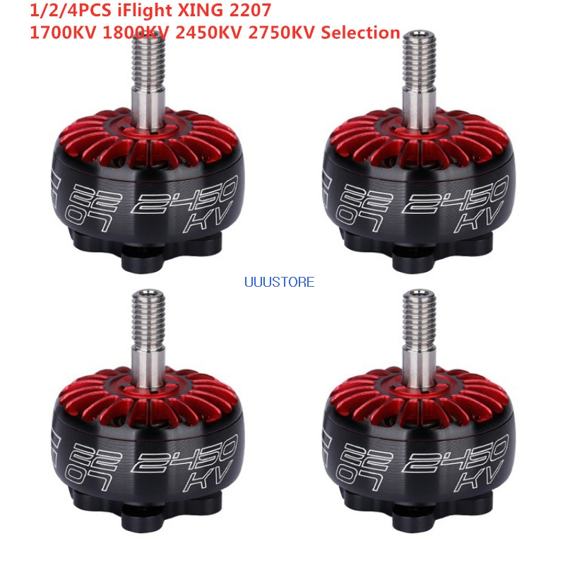 1/2/4 PCS iFlight XING 2207 X2207 <font><b>1700KV</b></font> 1800KV 2450KV 2750KV 2-6S <font><b>Brushless</b></font> <font><b>Motor</b></font> for RC FPV Racing Drone Quadcopter Frame image