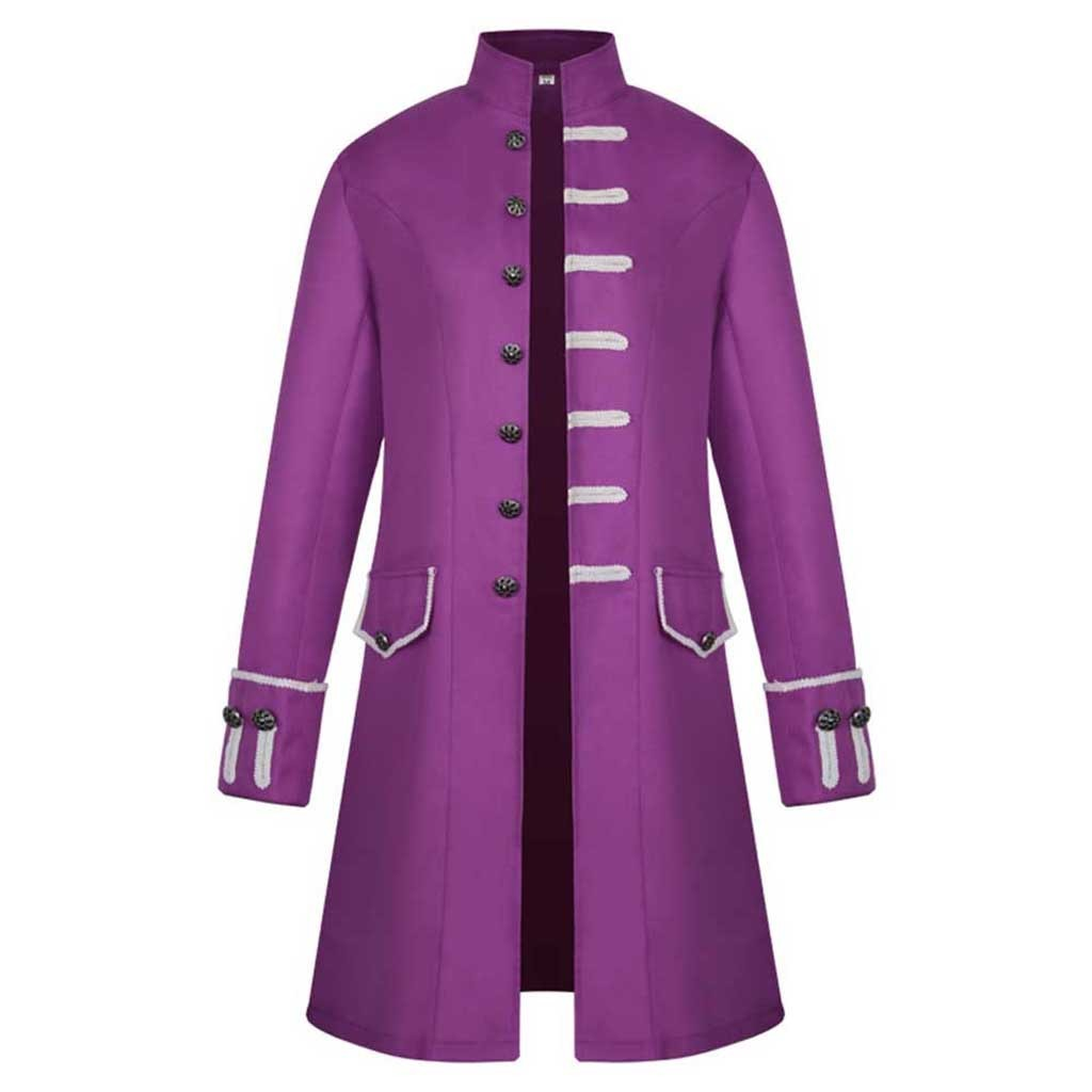 Hdd3d9ad36c62494a98a1ce0ea8424311D Men Trench Coat Steampunk Jacket Medieval Costume Men Long Sleeve Gothic Brocade Jacket Frock Vintage Stand Collar Men's Coat