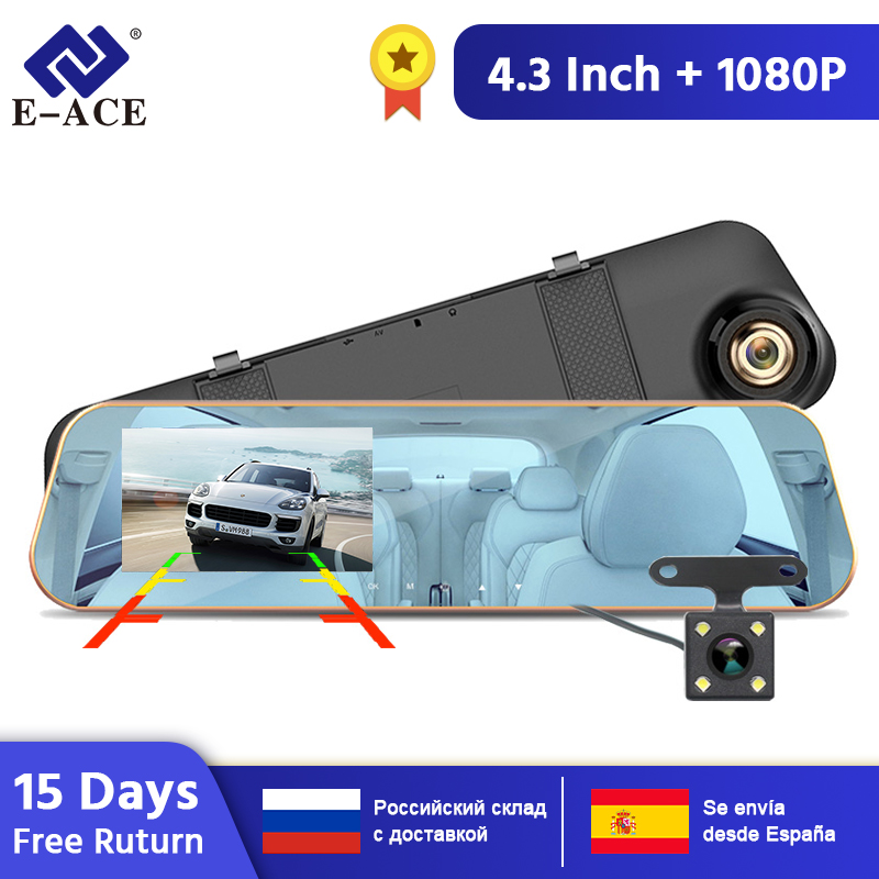 E ACE A10, хит, Full HD 1080 P, Автомобильный видеорегистратор, камера, авто, 4,3 дюймов, зеркало заднего вида, цифровой видеорегистратор, двойной объектив, Регистрационная видеокамера