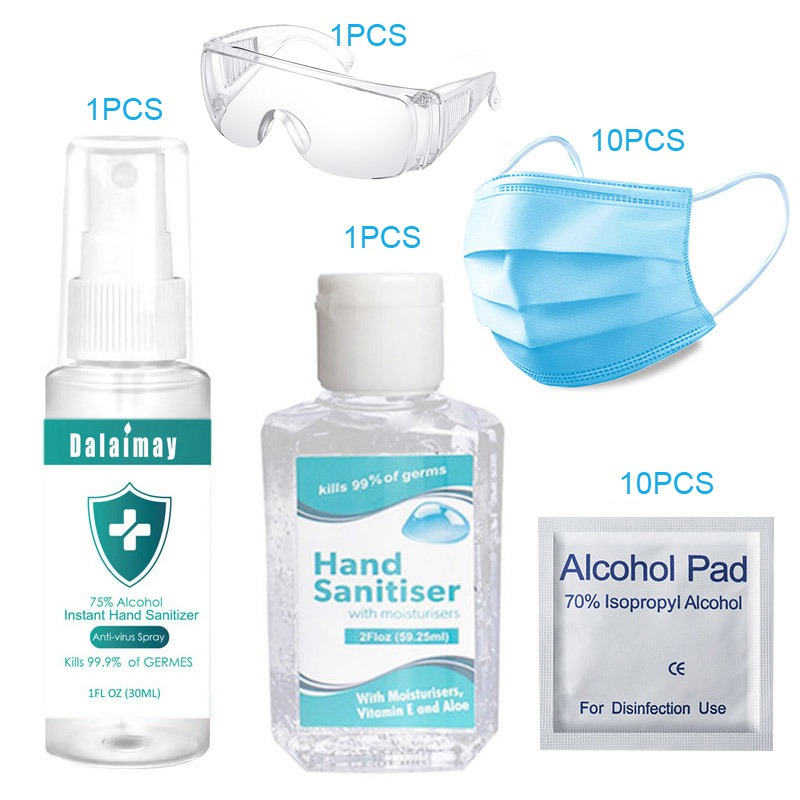 Disposable Alcohol Hand Sanitizer 60ml + Disposable Mask Suit Quick-drying Hands-Free Hand Wash Gel