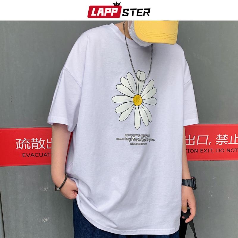 LAPPSTER Men Summer Dirty Flower Harajuku T-shirts 2020 Man Casual Japanese Streetwear White Tshirts Male Korean Cotton Clothing 3