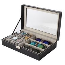 Коробка для часов из кожи и углеродного волокна с несколькими