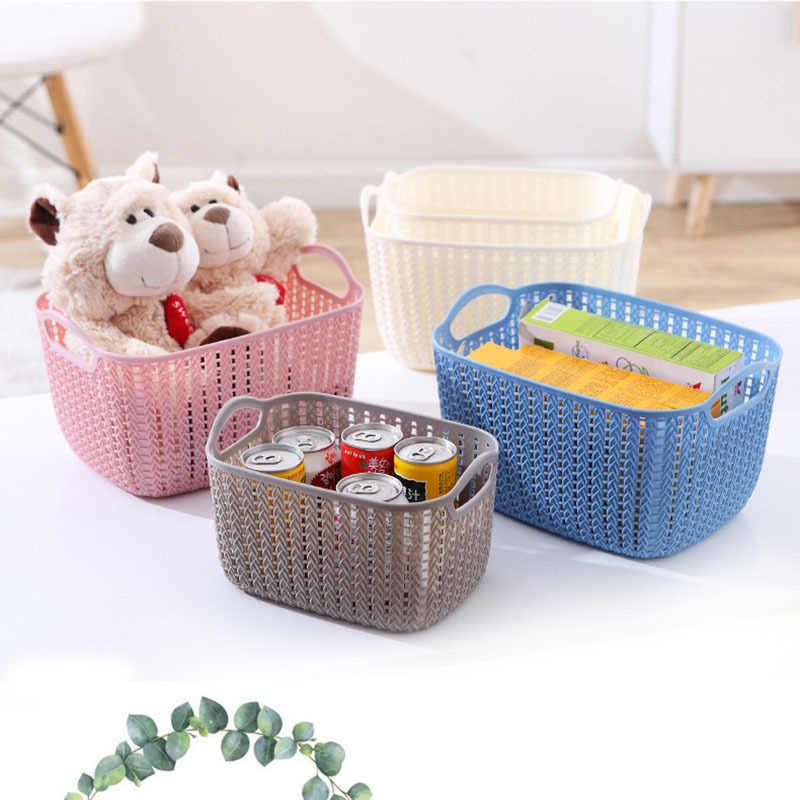 Wozhiwo Ukuran Besar Plastik Penyimpanan Keranjang Rotan Laundry Basket Mandi Keranjang Laundry Keranjang Mandi Bingkai Makanan Ringan Kotak Penyimpanan