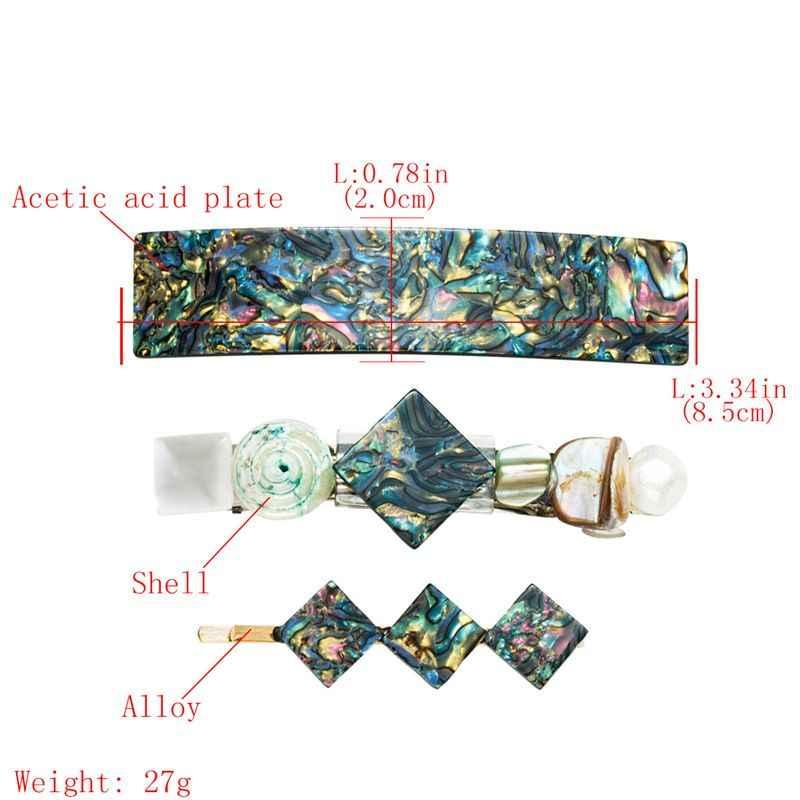 3 cái/bộ Hàn Quốc Vintage Axit Axetic Trâm Cài Tóc Hình Học Vuông Vỏ Kẹp Tóc Phụ Kiện Tóc dành cho Nữ Trang Sức Dự Tiệc Barrette