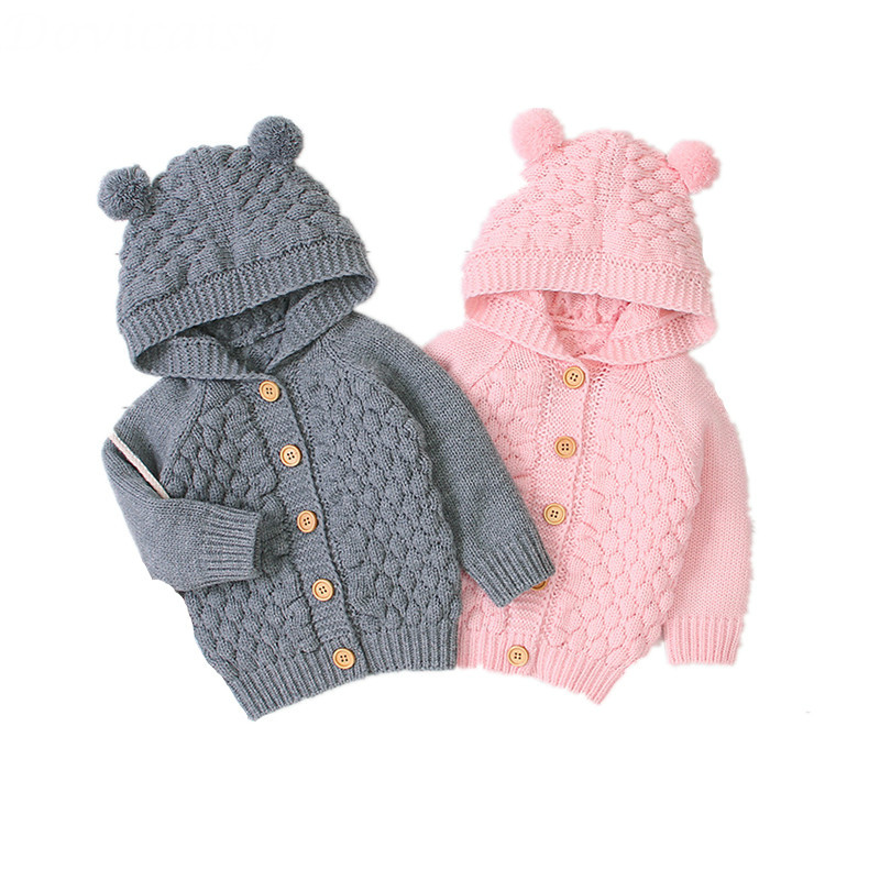 Coat Sweater Baby-Girl Autumn Winter Outwear Cardigan-Coat Hooded Knitted Long-Sleeve