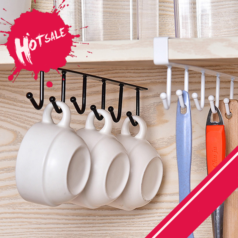 6 Hooks Cup Holder Bathroom Kitchen Hanging Organizer Cabinet Door Shelf Rack
