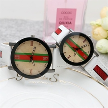 2019 Fashion Round Couple Watch Hot Sale Leather Pointer Male and Female Casual