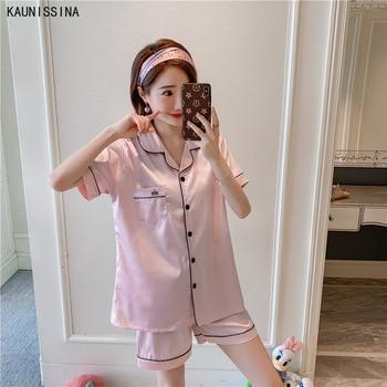 Plus Size Pajamas Set Women Silk Summer Sleepwear Short Sleeve Turn-down Collar Button Tops Shorts Two Piece Pajama Homewear 5XL недорого