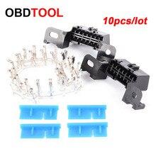 10 adet 16pin Obd2 konnektör OBD 16Pin dişi açılı konnektör OBD 2 kadın tel soket konnektörü Obd Ii adaptörü teşhis araçları