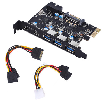 PCI-E to Type C (2), Type A (3) USB 3.0 5-Port PCI Express Expansion Card with Internal USB 3.0 19-PIN Connector orico pvu3 5o2i usb3 0 5 port pci e expansion card with dual chip high speed 5gbps black pcba with 20 pin slot