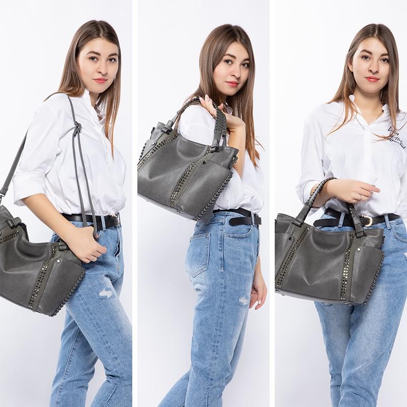 Image 2 - REALER women handbags female artificial leather totes ladies shoulder crossbody bag large messenger top handle bag rivets bucket-in Top-Handle Bags from Luggage & Bags