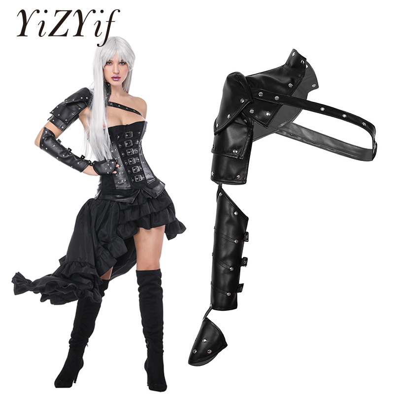Gothic Punk PU Leather Buckle Single Shoulder Armors Arm Warmers Metal Rivets Shoulder Armors Harness Shoulder Straps Cosplay