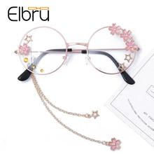 Elbru Nette Sakura Anhänger Optische Gläser Rahmen Frauen Mädchen Runde Retro Brillen Cosplay Decor Brillen Glas Oculos De Gafas