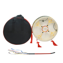 Shaman Drum Frame Hand Drum wood cow leather & old goat skin Traditional Chinese Percussion Instrument with Drum Bag Drum Whip