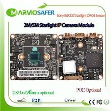 H.265 5mp luz das estrelas módulo de câmera ip cctv poe placa da câmera de rede áudio em dois sentidos sony imx335 sensor 1080p 3mp opcional onvif
