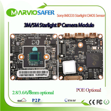 Модуль IP камеры видеонаблюдения H.265 5 Мп Starlight, сетевая плата POE для двухстороннего аудио Sony IMX335, Датчик 1080P, 3 Мп, опционально Onvif