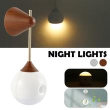 Induction Night Light 5V 3000K 1W Corridor Lighting Small Wall Light Outdoor Emergency Light Wood Grain Light Gary USB Charger
