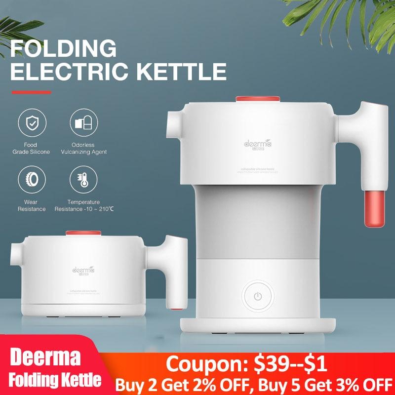 Deerma 0.6L складной портативный Электрический чайник для воды ручной Электрический колба для воды чайник с автоматической защитой от отключения питания