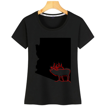 Tops T Shirt Women Image Of Arizona State With Outline Of Elk Inside Comic Black Short Tshirt