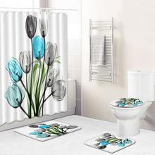 4 шт Нескользящие коврики для ванной комнаты из полиэстера