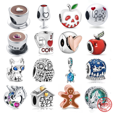 Bracelet DIY Jewelry Charm Bead Heart-Clip Coffee Apple 925-Sterling-Silver Original Pandora