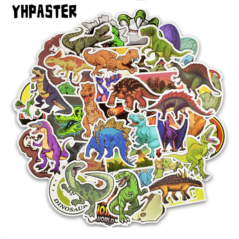 50pcs/Set Cartoon Dinosaur Graffiti Stickers Toy For Laptop Luggage Motorcycle Children On Scrapbook Stickers