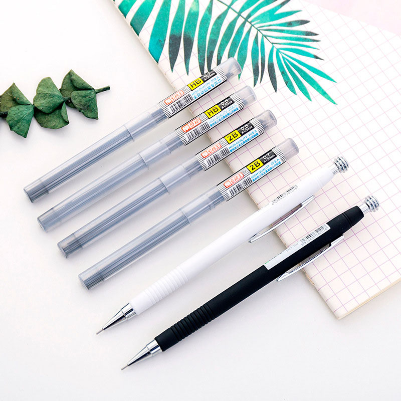 0.5mm 0.7mm Black White Mechanical Pencil Kawaii Automatic Pencils For Kids Gifts School Office Supplies Novelty Stationery