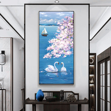 Oil Painting By 100% Handpainted Swan Cherry Blossom Canvas Painting Wall Art Pictures For Living Room Home Decor Gift Frameless