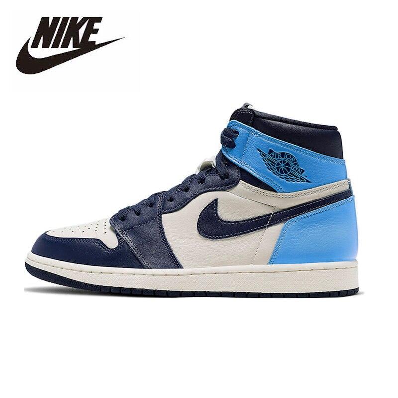 Original Nike Air Jordan 1 Obsidian Men's Basketball Shoes Women High-top Comfortable Sports Outdoor Sneakers 555088-140
