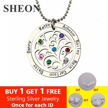 SHEON 925 Sterling Silver Birthstone Family Tree Necklace Personalized Mother Necklace Engraved Our Family Name Necklace Jewelry personalized necklaces 925 sterling silver engraved necklaces diy personalized jewelry family children mother pendants necklace