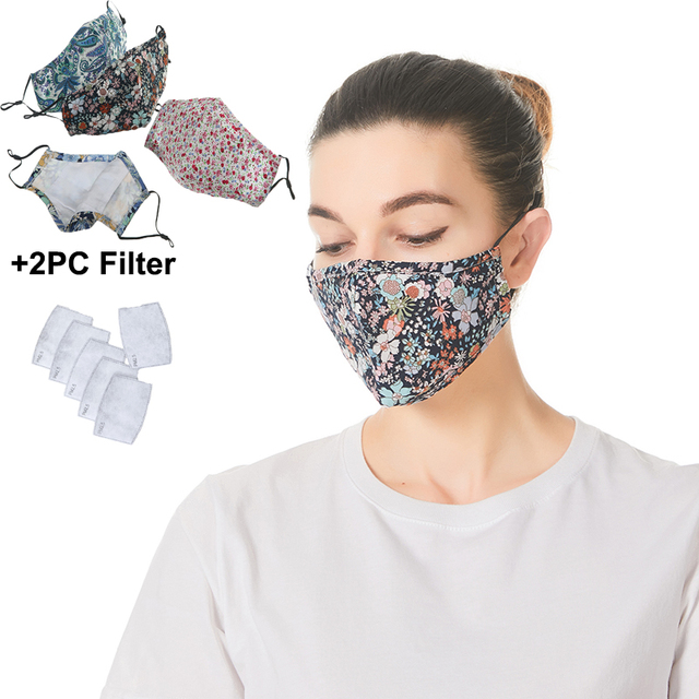 5pcs Unisex Cotton Mask Mouth Face Mask Anti PM2.5 Dust Female Mouth Mask Activated Carbon Filter Mask Flower Face Mask Washable 1