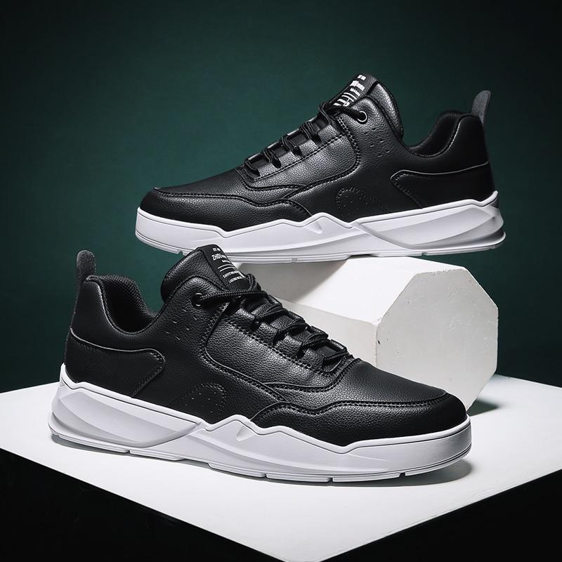 2020 Four Seasons Men Shoes Leather Comfort Lace-up Sneakers Men Breathable Light Mens Casual Shoes White Fashion Zapatillas 48