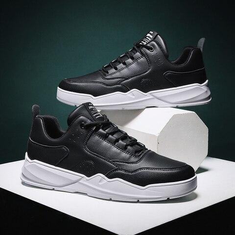 Sapatos de Couro Quatro Estações Homens Conforto Rendas Tênis Masculinos Luz Respirável Sapatos Casuais Branco Moda Zapatillas 48 2020