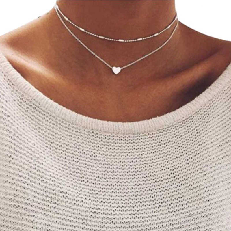 2019 New Lovely Style 2 layers Love Heart Adjustable Necklace Multilayer Chain Choker Necklace For Gift 2 Pcs/Set