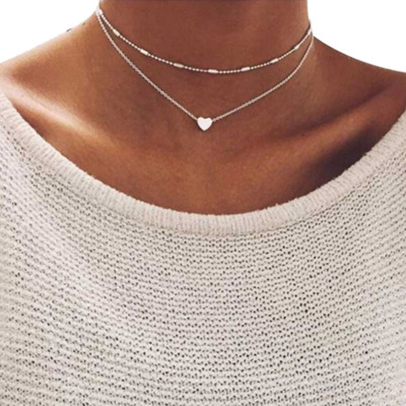 2021 New Lovely Style 2 layers Love Heart Adjustable Necklace Multilayer Chain Choker Necklace For Gift 2 Pcs/Set
