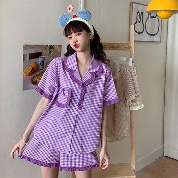 Pijama japonés de manga corta con lazo bonito de encaje de verano para mujer