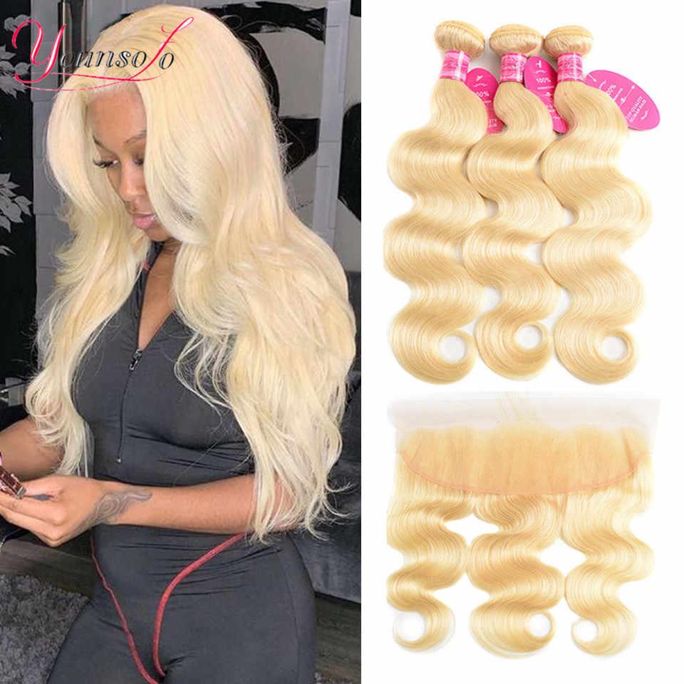 Younsolo Haar 613 Blond Bundels Met Frontale Lichaam Wave Menselijk Haar Kant Frontale Sluiting Met Bundels Braziliaanse Remy Human Hair